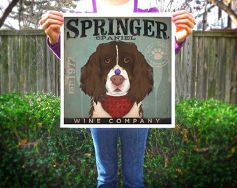 Springer Spaniel dog Wine Company graphic art giclee archival print by Stephen Fowler geministudio Pick A Size