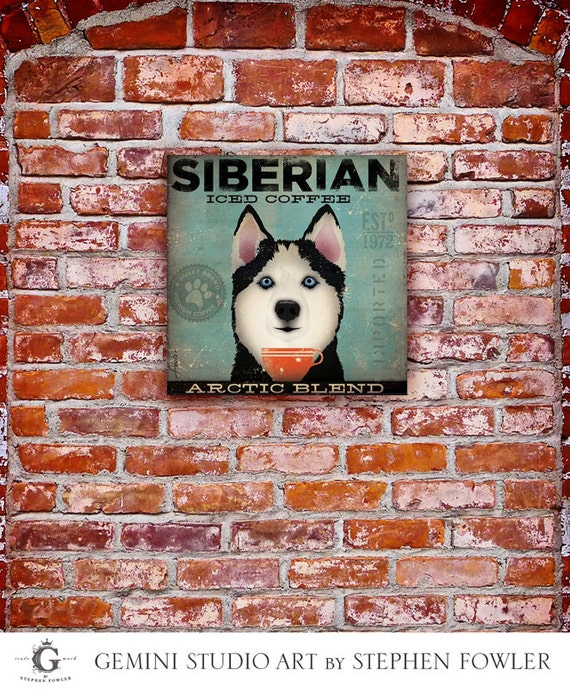 Siberian Husky Iced Coffee Company original illustration graphic art on gallery wrapped canvas by Stephen Fowler