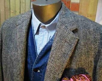 Vintage 50s Harris Tweed Jacket Gray black fleck wool coat Ricky style Union made  M L