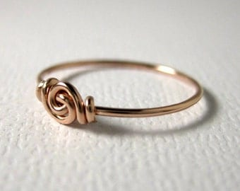 Promise Ring Love Knot Ring for Tiny Fingers Pinky Ring Knuckle Ring Wire Wrapped 14k Rose Gold Filled Forget-Me-Knot Valentine Fingerling