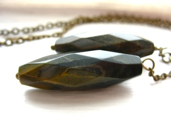 Tigereye Necklace, Handmade faceted Tigereye Stone Statement Pendant Chain Necklace, Tigereye Gemstone Jewelry, Pendant Necklace
