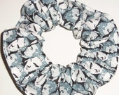 Elvis Presley Hair Scrunchie Gray Faces Fabric Scrunchies by Sherry Rock Roll Ponytail Holder Tie