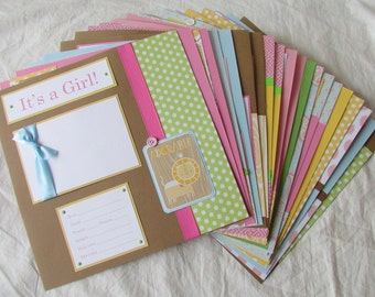20 BABY GIRL Scrapbook Pages for 12x12 FiRsT YeAr ALbUm -- trendy and fun --