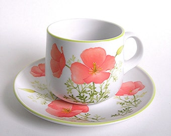 Noritake Progression China Cup and Saucer Set, Bright Side Pattern, California Poppies, Vintage c1970s Kitchen Dinnerware for Coffee or Tea