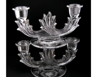 Fostoria Candleholders Pair of 2, Mayflower Etched Set, Baroque Line, Flame Pattern, Clear Glass, Double Arm, Vintage 1929-1955