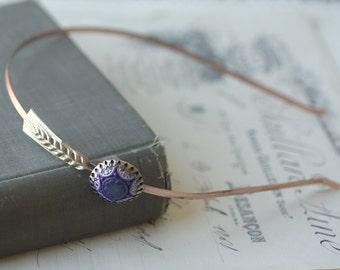 Art deco headband vintage blue cabochon jewel brass 1920's style flapper