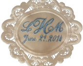 SILK -- custom Embroidered and Personalized Gretchen Personalized Wedding Gown Label in Italian Lace Style