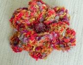 Crochet Flower Brooch - Red, Lavender, Gold