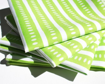 FREE OFFER Reusable ORGANIC Cloth Napkins - Set of 4- Exclusive Organic Prints- Green Stripe