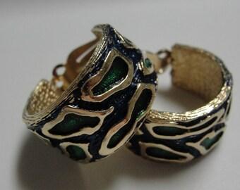Navy Green Goldtone Clip Earrings