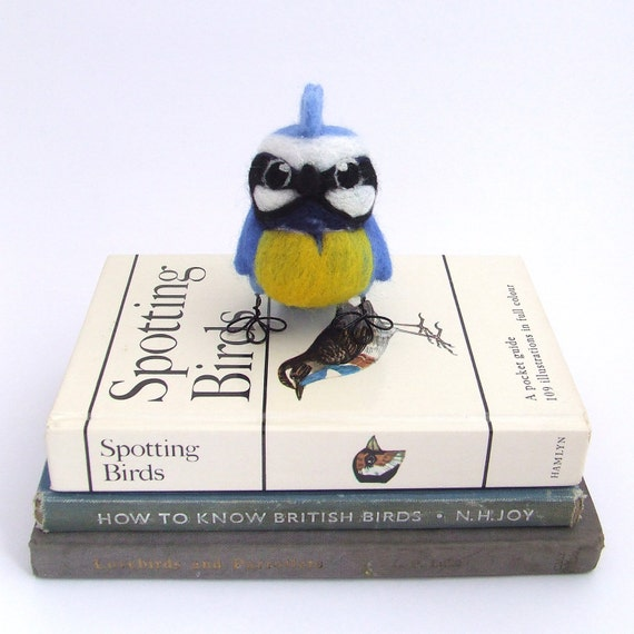 Punky Blue Tit Needle Felted Bird Blue Tit Wild Bird