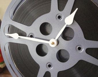 "Clock - Movie Reel Clock - Repurposed and Upcycled Home Decor - 10"" Diameter - Film Reel"