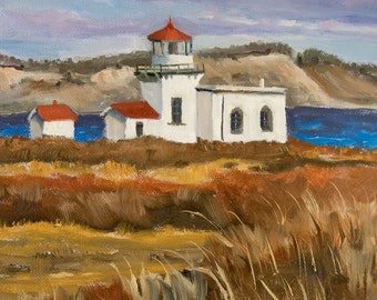 Original Oil Painting Of Point no Point Lighthouse