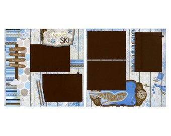 Snow Ski - Premade Scrapbook Page Set
