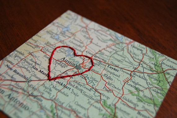 I love austin tx vintage map embroidered with red by