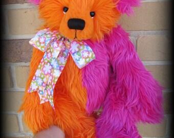 Safara - Huge 21IN faux fur artist Bear KIT in pink and orange