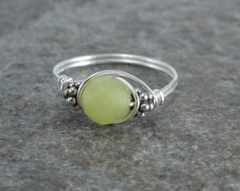 Faceted Olive Jade Sterling Silver Bali Bead Ring - Any Size