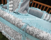 Custom White Gray & Aqua Blue 4-Piece Complete Boutique with Ruffles and Minky Crib Nursery Bedding Set MADE To ORDER