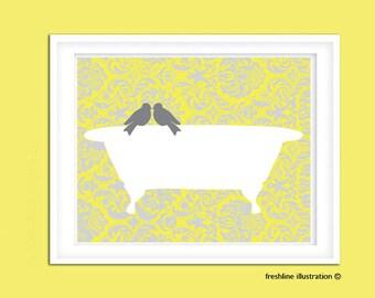 Bathroom Poster. Bird. Bathtub. Custom Bathroom Art. Lovebirds Art print