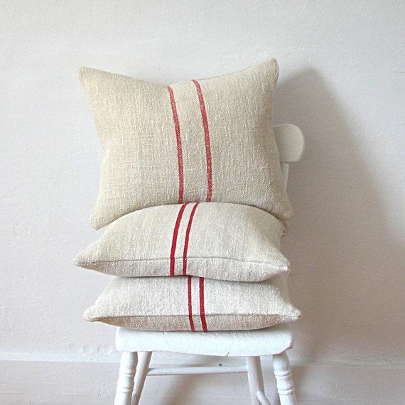 Vintage Grainsack Pillow Light Red Stripe