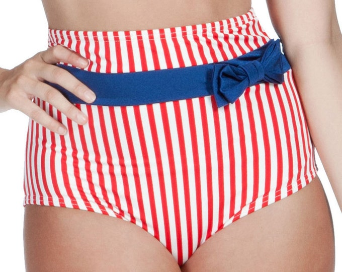 Frannie Bottom Red and White Stripes with Navy Bow S only!!