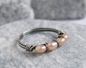 Oxidized Sterling Silver Peach Pearl Ring, Freshwater Pearl Jewelry, Rustic Jewelry