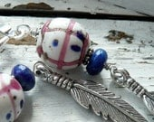 Medicine Woman Rare African Venetian Trade Beads Lapis Sterling Silver Feathers OOAK Boho Wire Wrapped Long Dangle Earrings