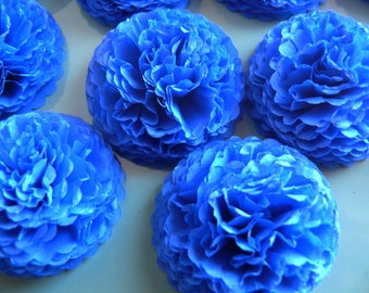 Button Mums Tissue Paper Flowers Brilliant Blue Wedding, Bridal Shower, Baby Shower Decor