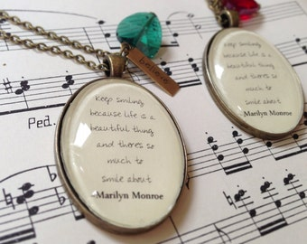 Keep smiling Marilyn Monroe quote necklace