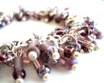 Purple Glass Bracelet French Lavender Sterling silver purple glass Gypsy bracelet by Vitrine