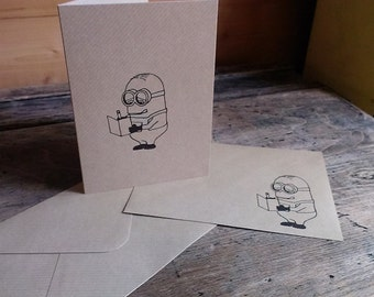 Minions - set of four gocco printed notecards