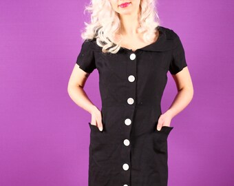 50s Black Dress - Pat Premo Linen Dress with Big White Buttons Large LG