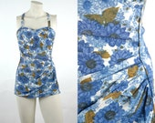 1950s One Piece Swimsuit / Vintage Blue Floral Maillot