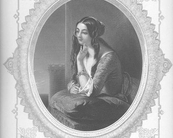 MIDDLE EASTERN ARAB Woman Pretty! Victorian Fantasy Costume ~ Vintage Antique Steel Plate Engraving Art Print 1800s [inv BeaU 4