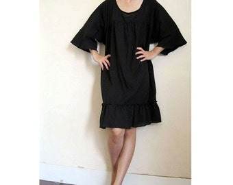 Custom Made Black cotton Loose boho short  simply ruffle  tunic dress  S-L (H)