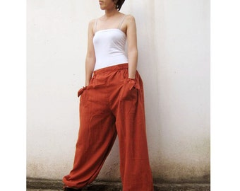 Orange Cotton Hippie Boho  long elastic waist  pants  S-L (H)