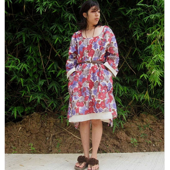 Red White Floral Cotton Boho Short Two Layers Tunic  Dress  (F01)