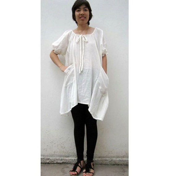 Custom Made Boho hippie Cream soft Cotton Tunic Summer  Blouse  S -L  (M)