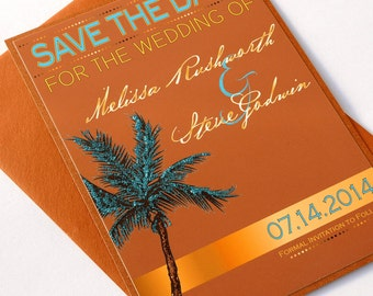 Turquoise & Copper Palm Tree Glitter Beach Destination Wedding Save the Date