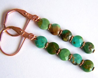 Faceted Natural Turquoise Earrings Sparkly Rustic jewelry Chic solid Copper Light weight green blue brown Linear earrings leverbacks