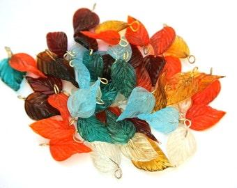 48 Vintage glass dangling beads leaf shape 8 colors 27mm X15mm