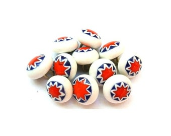 6 Vintage glass buttons white with orange and blue metal shank 11mm