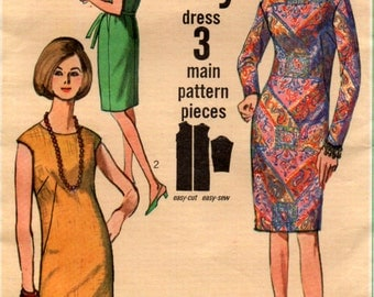 Vintage 1966 Fitted Dress Sewing Pattern 34 inch bust