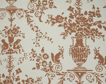 1950's Vintage Wallpaper - Brown and Ivory Woodland Whimsy Victorian Floral
