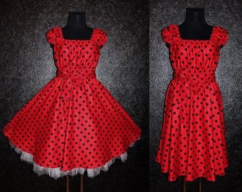 40s 50s RockaBilly Red and Black Swing Polka Dots Dress Pin Up US Plus Size 16 18 20 Summer Party 2x