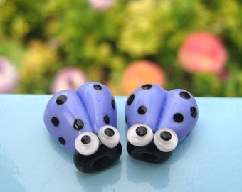 Glass Beads Ladybug Lampwork Blue Googly Eyes 14mm SRA Handmade Lampwork Make DIY Charms 2 Cute Blue Ladybugs Ladybirds Periwinkle Black - G