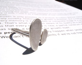 """Pebble ring in reclaimed sterling silver matte, a minimal """"U"""" organic ring made in your size"""