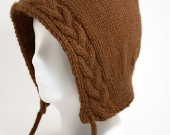 Cable Knit Hood in Brown - Free Shipping