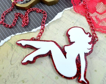 TRUCKER GIRL - Laser Cut Acrylic Mudflap Girl Necklace in White and Red Glitter
