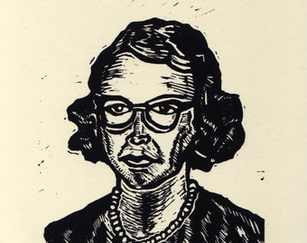 Art, Flannery O'Connor Print, Flannery O'Connor Linocut Art Print, Flannery O'Connor Portrait Linoleum Block Print, literary wall art decor